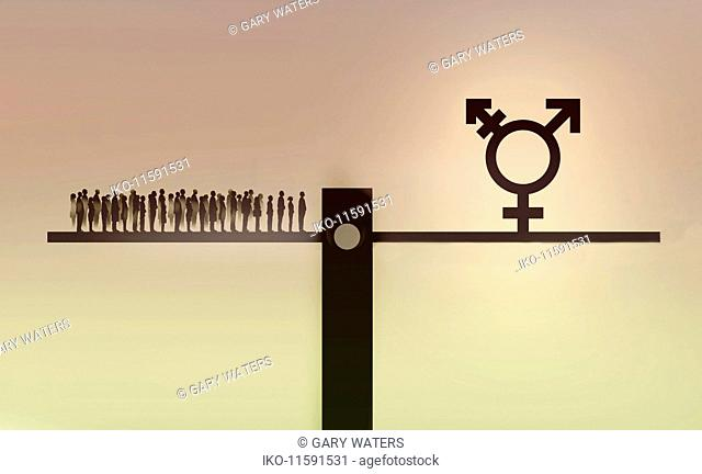 Crowd of people on opposite end of seesaw to transgender symbol