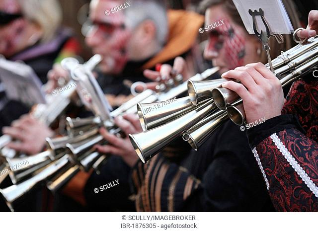 Band with horns, Carnival street parade, Cologne, North Rhine-Westphalia, Germany, Europe