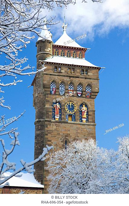 Cardiff Castle in snow, Cardiff, South Wales, Wales, United Kingdom, Europe