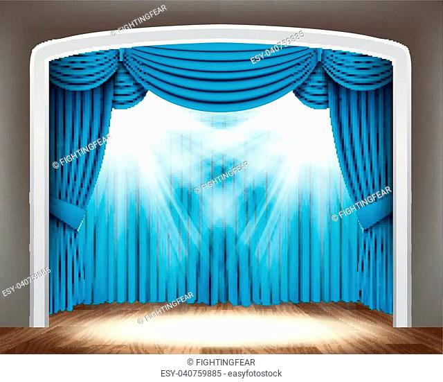Vector Illustration Of Blue curtain of classical theater with spotlights on wood floor