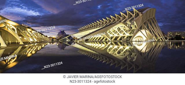 Panoramic view of the City of Arts and Sciences, Valencia, Spain