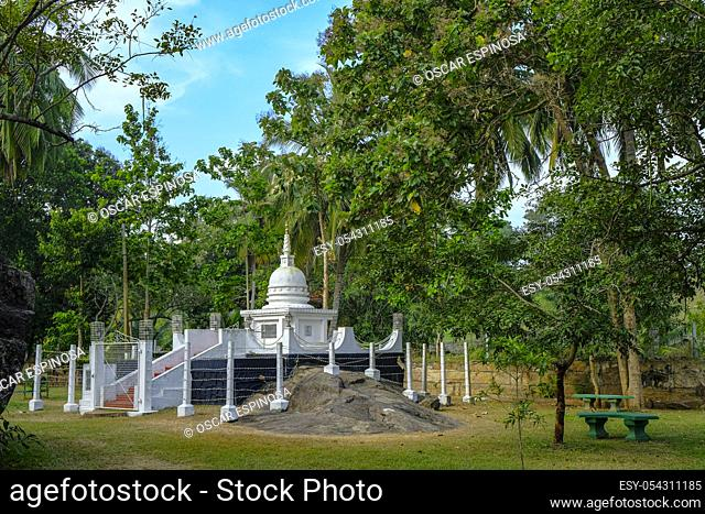 Anuradhapura, Sri Lanka - February 2020: Stupa in the Isurumuniya Vihara Buddhist temple on February 6, 2020 in Anuradhapura, Sri Lanka