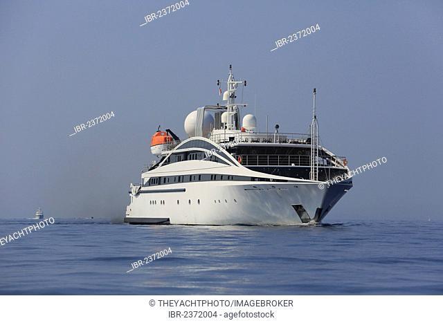 RM Elegant, a cruiser built by Kanellos Bros, length: 72.48 m, built in 2005, off Cap Ferrat, French Riviera, France, Mediterranean Sea, Europe