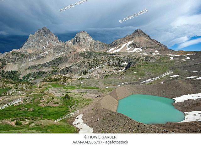 View of Lake, Teton Crest Trail, Three Tetons, Schoolroom Glacier and Lake from Hurricane Pass, Grand Teton National Park, Wyoming
