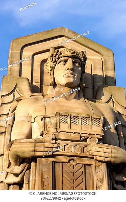 The Guardians of Traffic which stand on the ends of the Hope Memorial Bridge (formerly the Lorain-Carnegie Bridge) symbolize progress in transportation