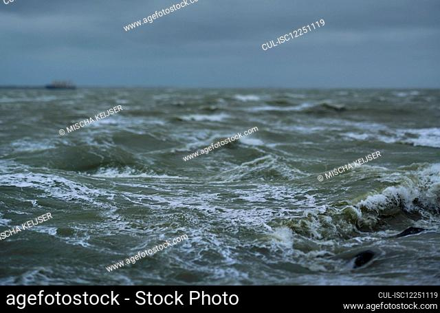 Storm battering the coast of the Wadden Sea nature reserve in Friesland, The Netherlands