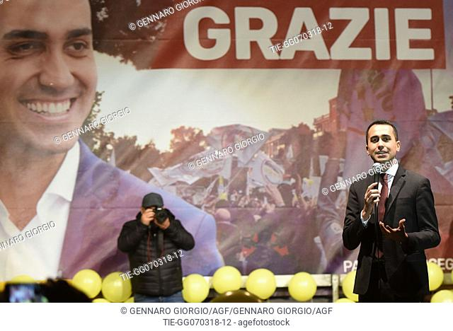 Luigi Di Maio, Italian Five Star Movement leader and candidate for the role of Prime Minister celebrates with supporters in Pomigliano D'Arco -ITALY-06-03-2018