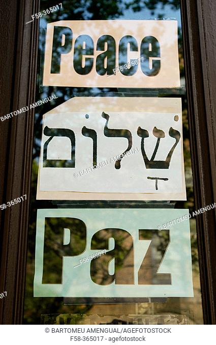 Sign in Williamsburg, the heart of the Satmar Hasidic Jewish community. Brooklyn, New York