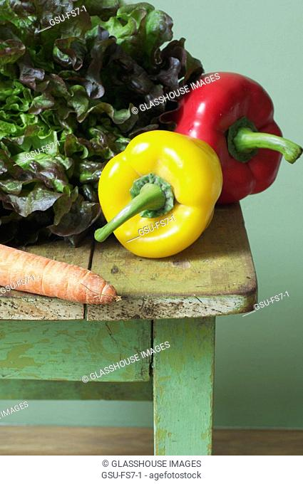 Fresh vegetables on an old table
