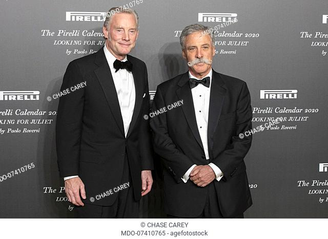 American company manager Chase Carey and Sean Bratches during the presentation of the Pirelli 2020 Calendar at the Verona Philharmonic Theater