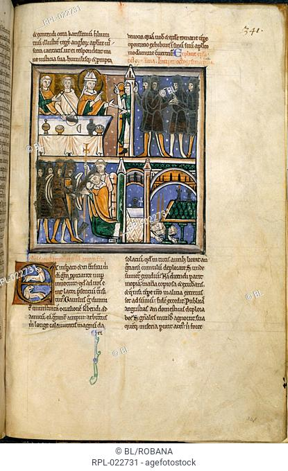 Death of Thomas Becket, Whole folio Text, miniature with three scenes. A servant announces the arrival of the four knights to Becket who is seated at table