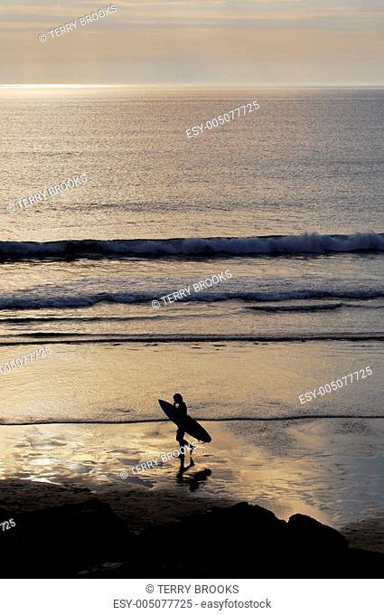 Surfer Sunset Silhouette, Cornwall, UK