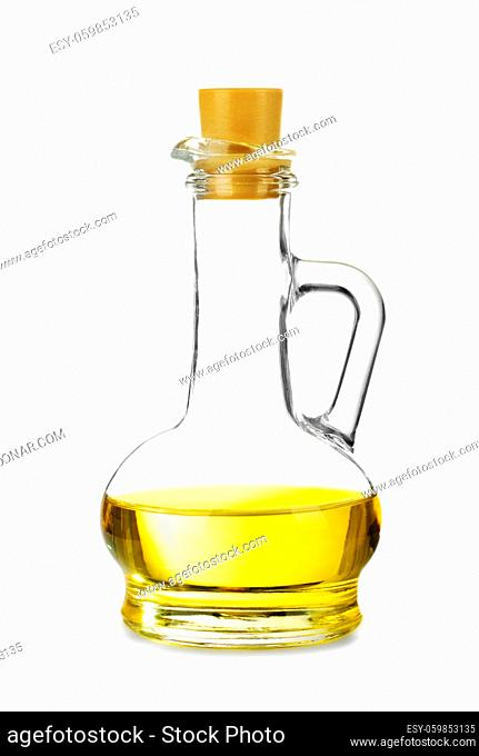 Decanter with sunflower oil isolated on white background