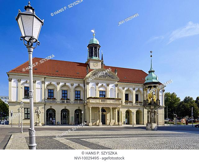 City Hall at the Old Market with Magdeburg Horseman, Magdeburg, Saxony-Anhalt, Germany