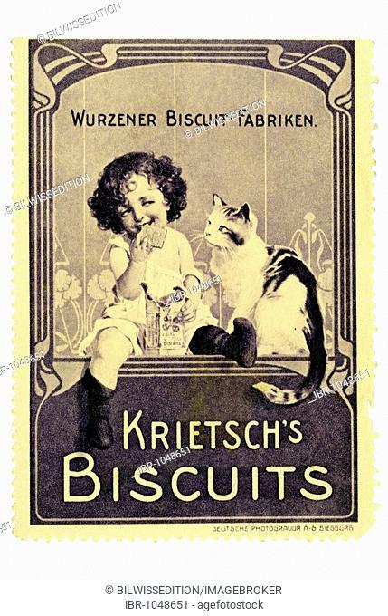 German trading stamp, Wurzener Biscuit-Fabriken, Krietsch's Biscuits