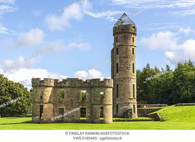 Remains of Eglinton Castle, Kilwinning, Ayrshire, Scotland. Eglinton Castle was a large Gothic castellated mansion built for the Earl of Eglinton