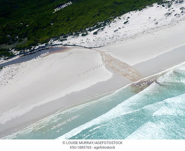 Aerial photography of small river draining the fynbos, near Hermanus, Western Cape, South Africa  The fresh river water is stained brown with tannin