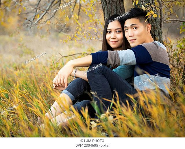 A young Asian couple enjoying a romantic time together outdoors in a park in autumn sitting under a tree and posing for the camera; Edmonton, Alberta, Canada