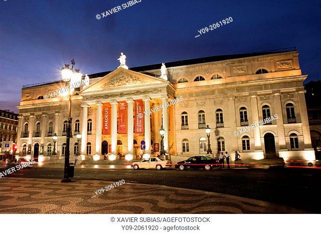 National Theatre D. Maria II, Rossio Square, Lisbon Portugal