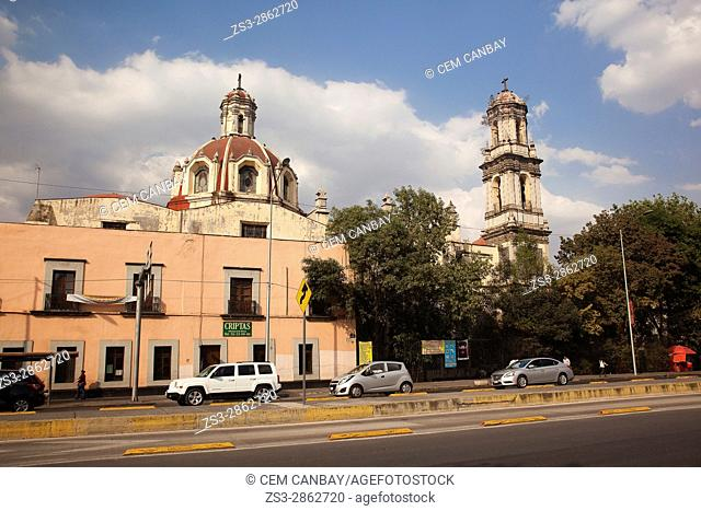 View to the Parroquia De La Santa Veracruz in the afternoon light at the city center, Mexico City, Mexico, Central America