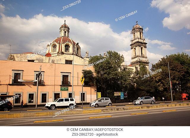View to the Parroquia De La Santa Veracruz in the afternoon light at the city center, Mexico City, Mexico, Central America