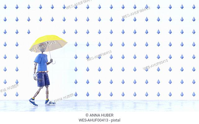 Robot with yellow umbrella walking in the rain