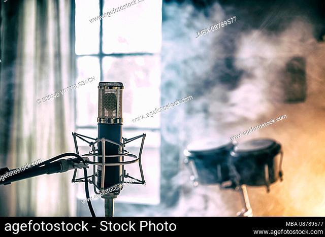 Close-up of a microphone in a studio