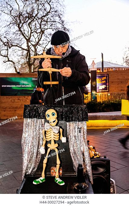 England, London, Leicester Square, Busker with Puppet