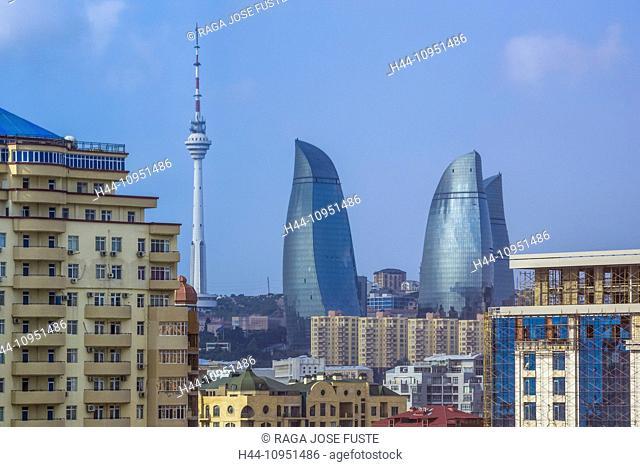 Azerbaijan, Caucasus, Eurasia, Baku, City, Flame, Tele, architecture, new, skyline, tower, modern, Flame towers