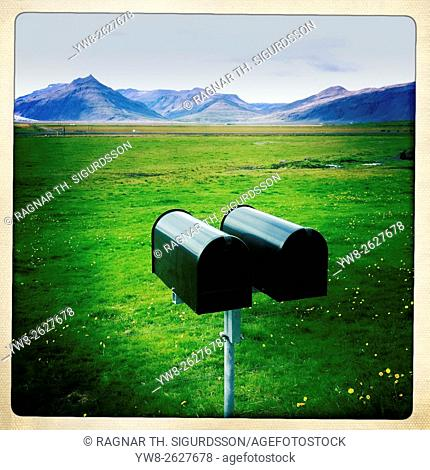 Mailboxes in the countryside, Iceland