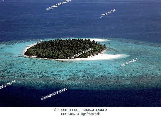 Aerial view, uninhabited island in the North Ari Atoll, Indian Ocean, Maldives
