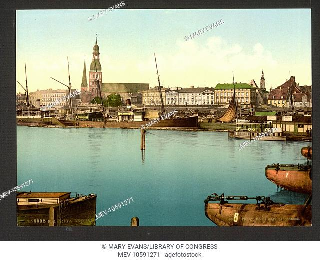 The quay, Riga, Russia, (i.e., Latvia). Date between ca. 1890 and ca. 1900