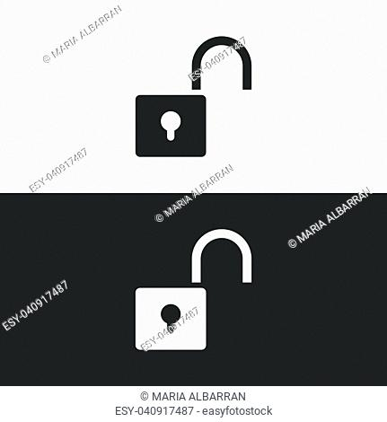 Unlock icon on black and white background. Vector illustration