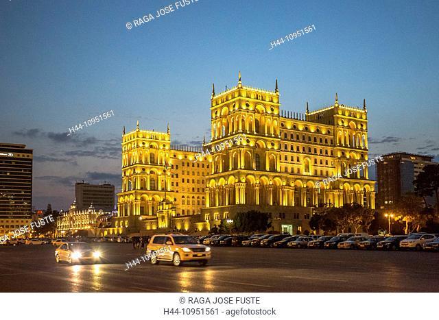 Azerbaijan, Caucasus, Eurasia, Baku, Government, administration, architecture, avenue, city, downtown, house, travel, illuminated, lights