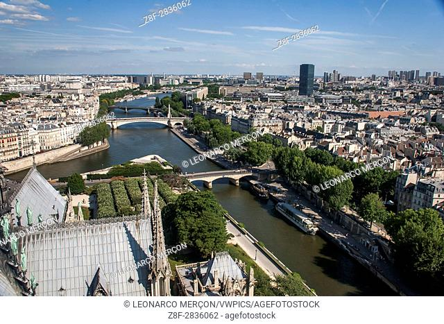 Cityscape photographed from the top of the Notre Dame Cathedral, with the Sicena River, in Paris, France