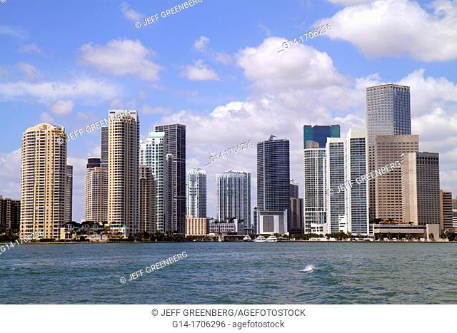 Florida, Miami, Biscayne Bay, city skyline, high-rise, condominium, buildings, water, Brickell Key, downtown office