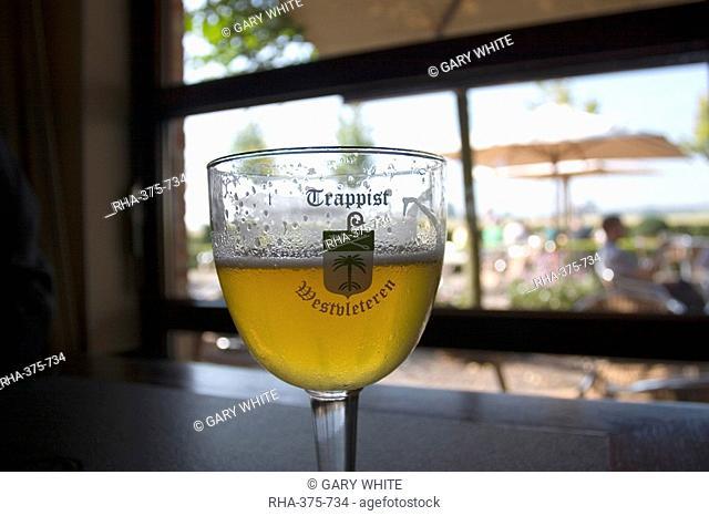 Westvleteren Trappist beer at the abbey in Saint Sixtus, enjoying local beer, near Poperinge, West Flanders, Belgium, Europe