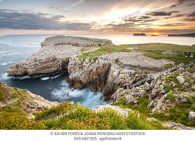 Dawn at Roca Blanca - White Rock - in Suances, Cantabria, Spain