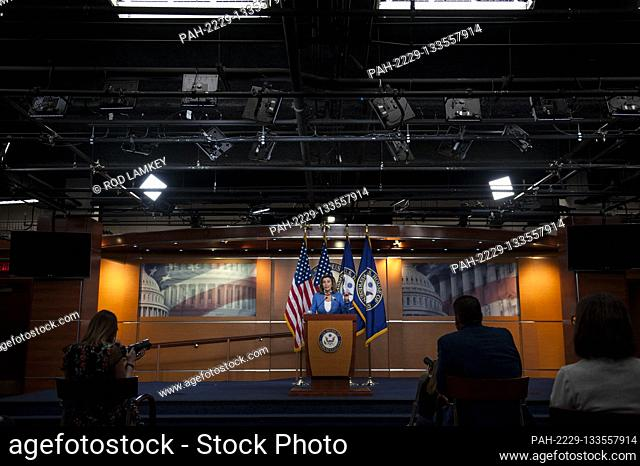 Speaker of the United States House of Representatives Nancy Pelosi (Democrat of California), offers remarks and takes questions from reporters during her weekly...