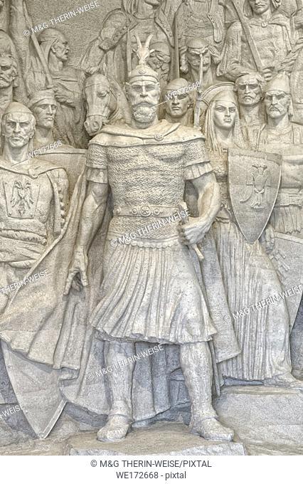 George Castriot Skanderberg statue in the entrance of the museum, Kruje castle, Kruje, Albania