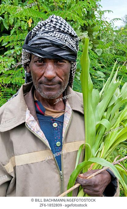 Shashemene Ethiopia Africa Alaba tribe portrait of local man with turban farmer 9