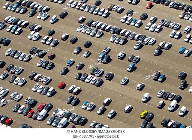 Aerial photograph, new car parking lot, Citroen, Peugeot, Ford, colourful rows of cars, Wallenius Wilhelmsen Logistics, Zülpich, Rhineland