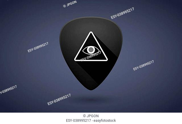Illustration of a black guitar pick icon with an all seeing eye