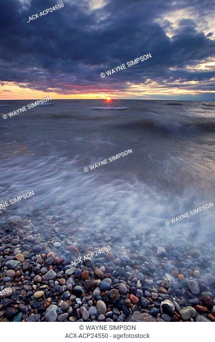 Sunset on on the shore of Lake Huron near Grand Bend Ontario