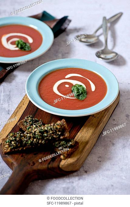 Tomato soup with basil and creme fraîche