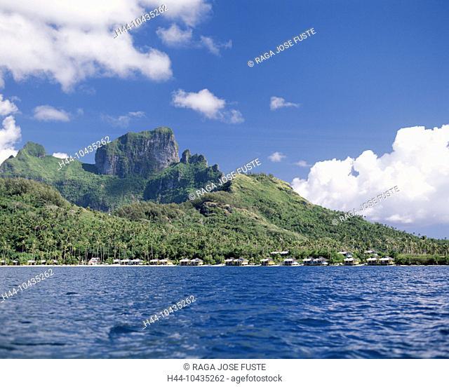 10435262, Bora Bora islands, isles, Pacific, Faaopore Bay, huts, Otemanu mountain, beach, seashore, clouds, weather