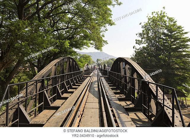 Railtrack at the river Kwai bridge in Kanchanaburi, Thailand