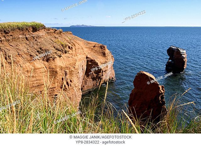 Le Gros Cap cliffs, Cap aux Meules, Magdalen Islands (Iles de la Madeleine), Quebec, Canada