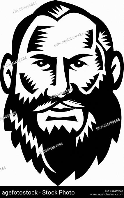 Illustration of a bald head big bearded male man facing front set on isolated white background done in retro woodcut style