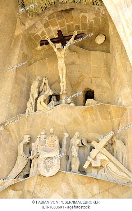 Detail of the Passion Portal of Sagrada Familia, designed the most famous Spanish architect Antoni Gaudí in a modernist style, Barcelona, Spain